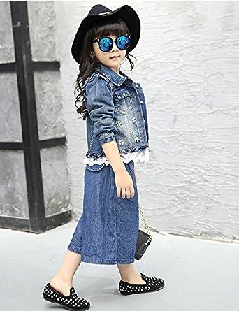 EGELEXY Girls Denim Jackets Coats Children Outwear Elegant Floral Jean Jacket