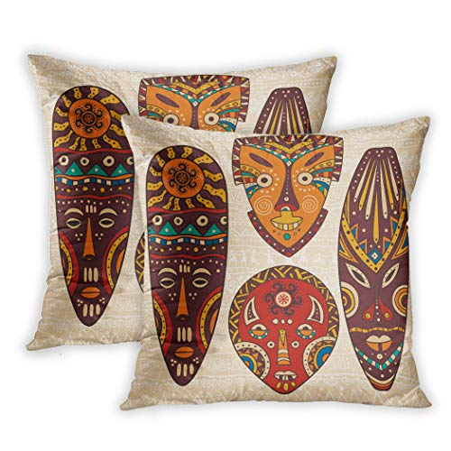 - Lichtion Set of 2 Throw Pillow Covers Print Tribal African Pattern On Ritual Masks Ethnic Accessories Indigenous Culture Decorative Soft Bedroom Sofa Pillowcase Cushion Couch 20 x 20 Inch