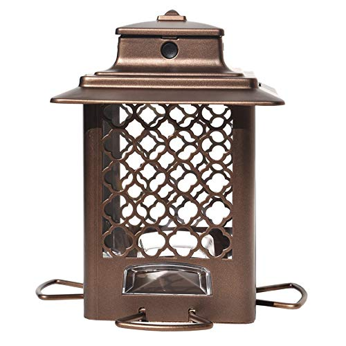 (Stokes Select Bird Feeder, Metal Hopper Bird Feeder, 4 Feeding Ports, 3.6 lb Bird Seed Capacity, Copper Finish)