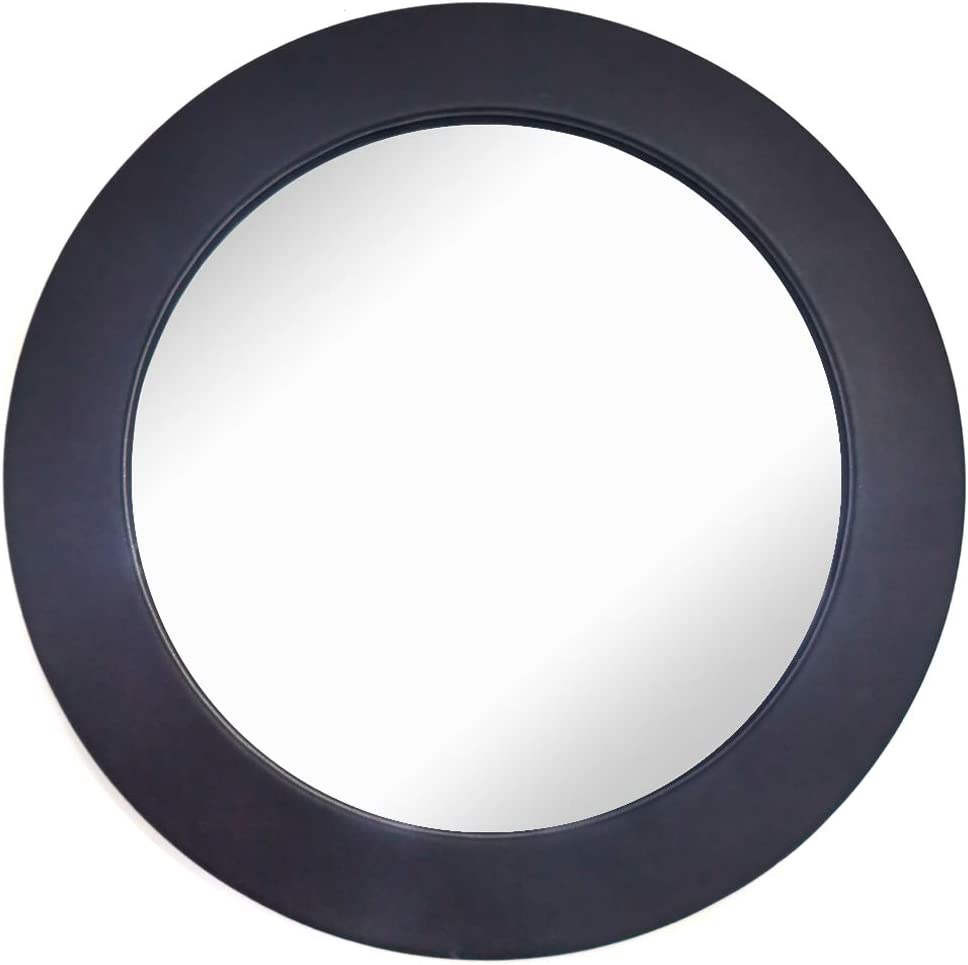 Wocred Black Round Mirror for Wall Decor, Elegant Leather Wall Mirror, I pcs Entry Mirror for Entryways, Washrooms, Living Rooms and More (Black, 12
