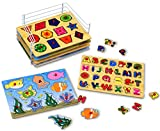 KLEEGER Baby Peg Puzzle Set - 6 Educational Knob Puzzles For Boy & Girl Toddlers - Alphabet, Numbers, Sea Life, Dinosaurs, Shapes & Vehicles - Bonus: Storage Rack