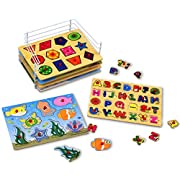 Kleeger Premium Baby Peg Puzzle 6-In-1 Set - 6 Different Themed Educational Knob Puzzles For Boy & Girl Toddlers - Alphabet, Numbers, Sea Life, Dinosaurs, Shapes & Vehicles - Bonus Storage Rack, , Medium