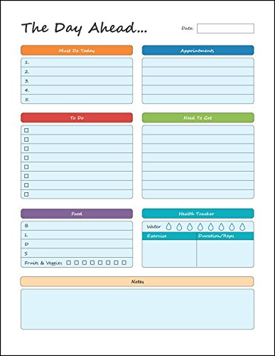 "Daily Planner – To Do Pad 8.5"" x 11"" Planning Pad – Tear Off Sheets – Day Planner Notepad - Get Organized Today!"