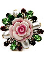 DREAMLANDSALES Vintage Rhinestone Leaf Pink Porcelain Rose Flower Brooch Pin Costume Jewelry