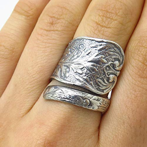 Antique Gorham 925 Sterling Silver Wide Adjustable Floral Spoon Ring Size 7.5 Jewelry by Wholesale Charms