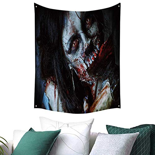 Anshesix Zombie Decor Tapestry for Dorm Scary Dead Woman with Bloody Axe Evil Fantasy Gothic Mystery Halloween Picture a 57W x 74L INCH Multicolor