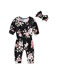 CYNDIE Baby Girl Cotton Jumpsuit Prints Long Sleeve Collect Waist Rompers+Headband Christmas Crawl Clothes Spring Autumn