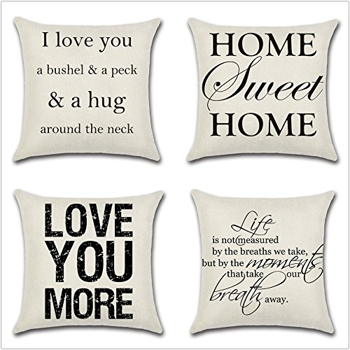 Leaveland Love You Hug Sweet Home Life Quotes Set of 4 18x18 Inch Cotton Linen Square Throw Pillow Case Decorative Durable Cushion Home Decor Sofa Standard Size Accent Pillowcase from Leaveland
