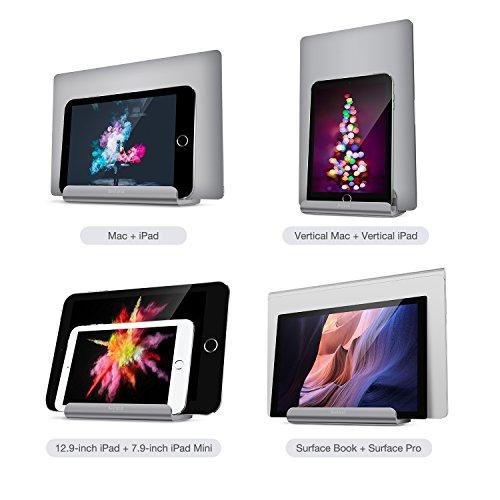 BESTAND 2 in 1 Vertikal-Laptop-St/änder f/ür MacBook und iPad//iPhone Grau verstellbarer Laptop-St/änder f/ür Laptops von verschiedener Dicke