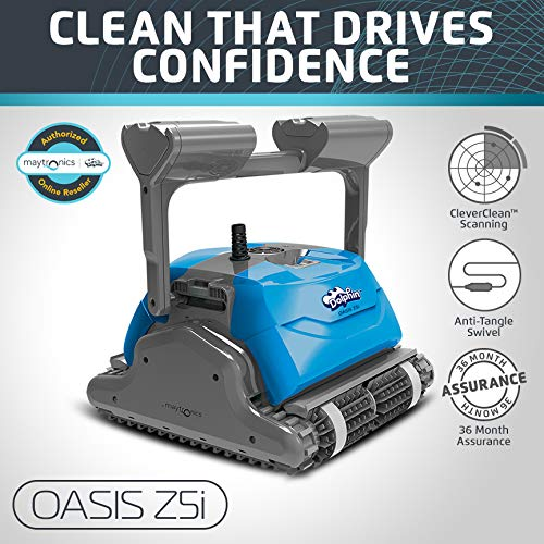 (Dolphin Oasis Z5i Robotic Pool Cleaner with Powerful Dual Drive Motors and Bluetooth, Ideal for In-ground Swimming Pools up to 50 Feet.)