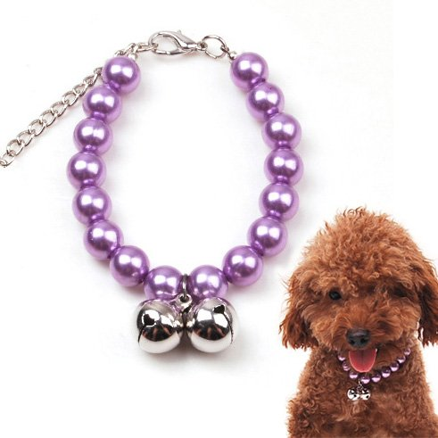 Alfie Couture Designer Pet Jewelry – Jinny Pearl Necklace with Bells – Color: Purple, Size: S (8″- 10″) for Dogs and Cats, My Pet Supplies