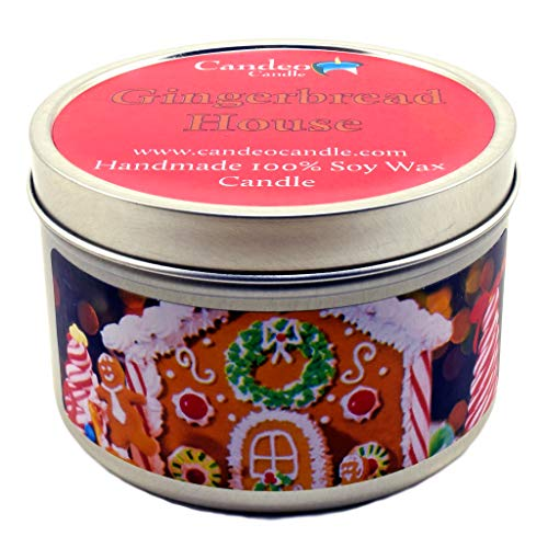 Gingerbread House, Holiday Scented Soy Candle Tin (6 oz), Christmas Candles