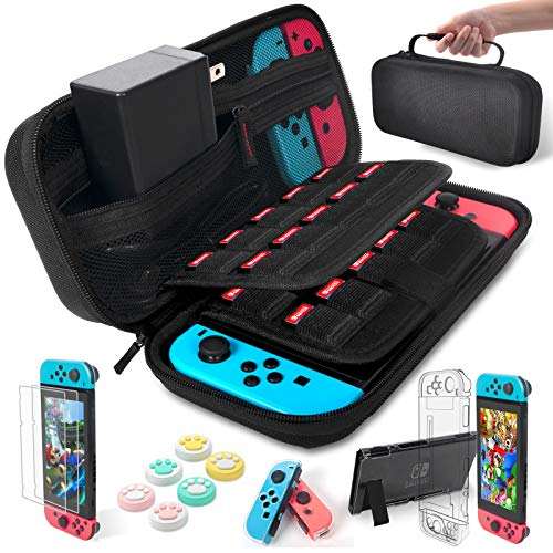 Daydayup Nintendo Switch Accessories Bundle Kit Case for Nintendo Switch 9 in 1 Pouch Switch Cover Case HD Switch Screen Protector Thumb Grips Caps for Nintendo Switch Console Accessories