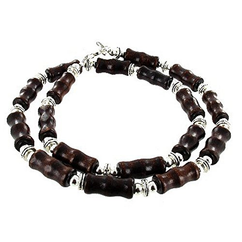Mens Brown Wood Bamboo & Sterling Silver Beaded Necklace - 24