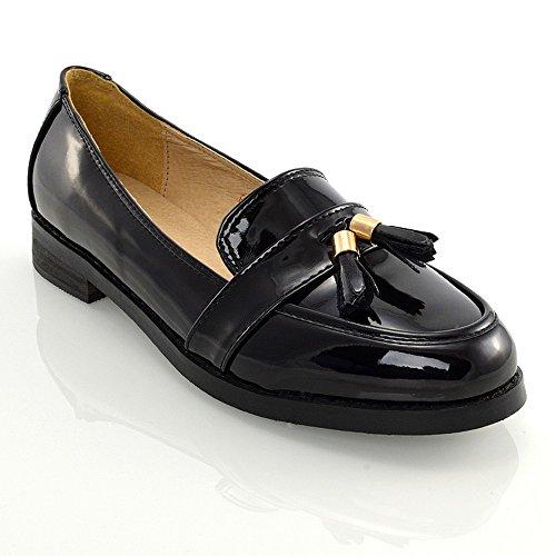 Essex Glam Kvinners Dusk Pumper Syntetisk Lær Loafers Sko Svart Patent