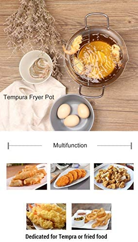 xunlei Acier Inoxydable Silver Tempura Fryer Pot Style Japonais Potable Frying Pots with Drainer Basket Household Cookware Kitchen Utensils