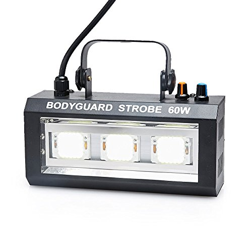 60W Strobe Flash Light ,Led Voice Controled 6 Music Show Projector White Lighting Effect home entertainment RGBW Led Disco Light For Club Disco Party DJ Dancing Show Concert Xmas Halloween (white) ()
