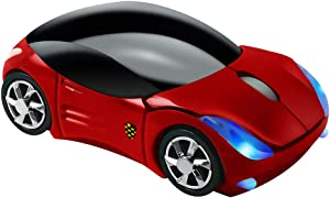 Usbkingdom 2.4GHz Wireless Mouse Cool 3D Sport Car Shape Ergonomic Optical Mice with USB Receiver for PC Laptop Computer Women Small Hands (Red)