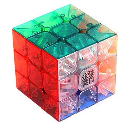 3x3x3 Transparent Colorful Stickerless Puzzle Speed Magic Rubik`s Cube Pink,Durable with Vivid Color,Best Birthday Christmas Puzzle Gift for your Children