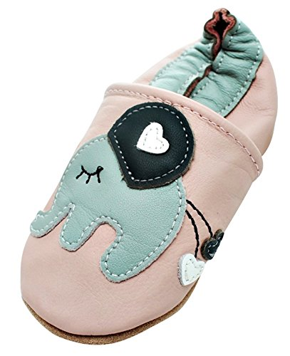 Engel + Piraten Krabbelschuhe Markenqualität Aus Deutschland - Viele Modelle bis 4 Jahre Babyschuhe Leder Lauflernschuhe Lederpuschen Elefant Rosa