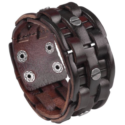 Zysta Punk Gothic Mens Genuine Leather Braided Bracelet Wristband Cuff Bangle 8.5-9