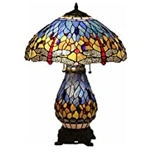 """Tiffany Style Stained Glass Table Lamp """"Blue Dragonfly"""" w/ Illuminated Base"""