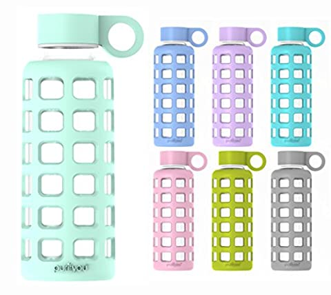 purifyou Premium Glass Water Bottle with Silicone Sleeve and Stainless Steel Lid, 12 / 32 oz (Glow in the Dark, 12 oz)