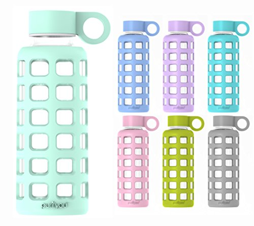 ss Water Bottle with Silicone Sleeve and Stainless Steel Lid, 12 / 32 oz (Glow in the Dark, 12 oz) (Dark Pink Silicon Sleeve)