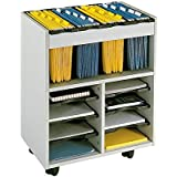 Safco Go Cart Mobile Metal Hanging Files Cart With 6 Pull-Out Shelves in Gray