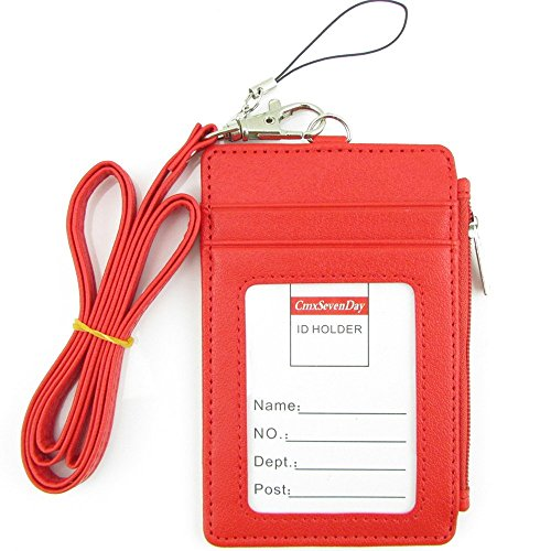 Cmxsevenday C68808 PU Leather 2-Sided ID Card Holder with ID Window ID and Side Zipper Pocket, Vertical Style - Red