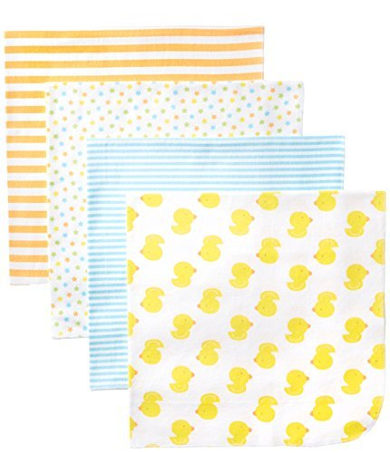 Gerber Unisex-Baby Newborn 4 Pack Neutral Flannel Blanket- Ducks, Yellow, One Size Size: One Size Color: Yellow Model: 78015416A N15 STD