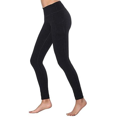 TianWlio Leggings Damen Frauen Hohe Taillen Yoga Hosen Taschen Bauch Trainings Laufende Sport Gamaschen Schwarz XS-XXL