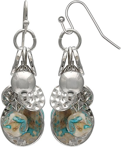 Silver Tone Beaded Disc - Coral Bay Hammered Discs & Beaded Cluster Earrings Aqua blue/silver tone