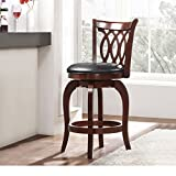 Modern Cherry Kitchen Stool Counter Height with Scroll Back, Black Faux Leather Seat and Swivel - Includes Modhaus Living Pen (Scroll Back)