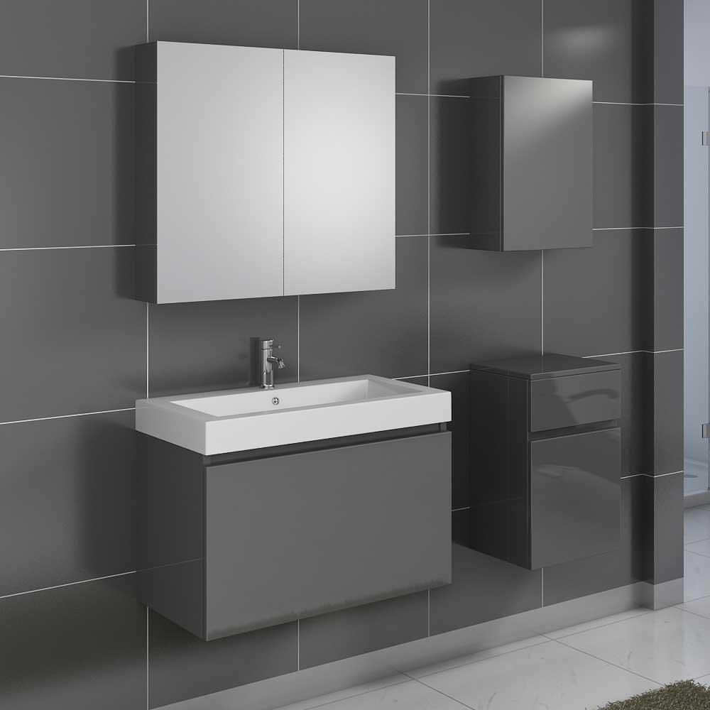 Badezimmer Set in Grau Hochglanz mit Spiegelschrank (4-teilig ...