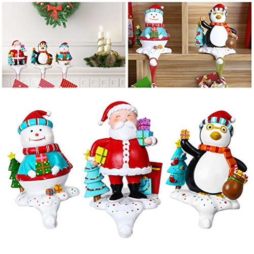 Unomor Set of 3 Christmas Stocking Holders Penguin Santa Snowman Stocking Hangers for Mantle or Fireplace 5.5-Inch