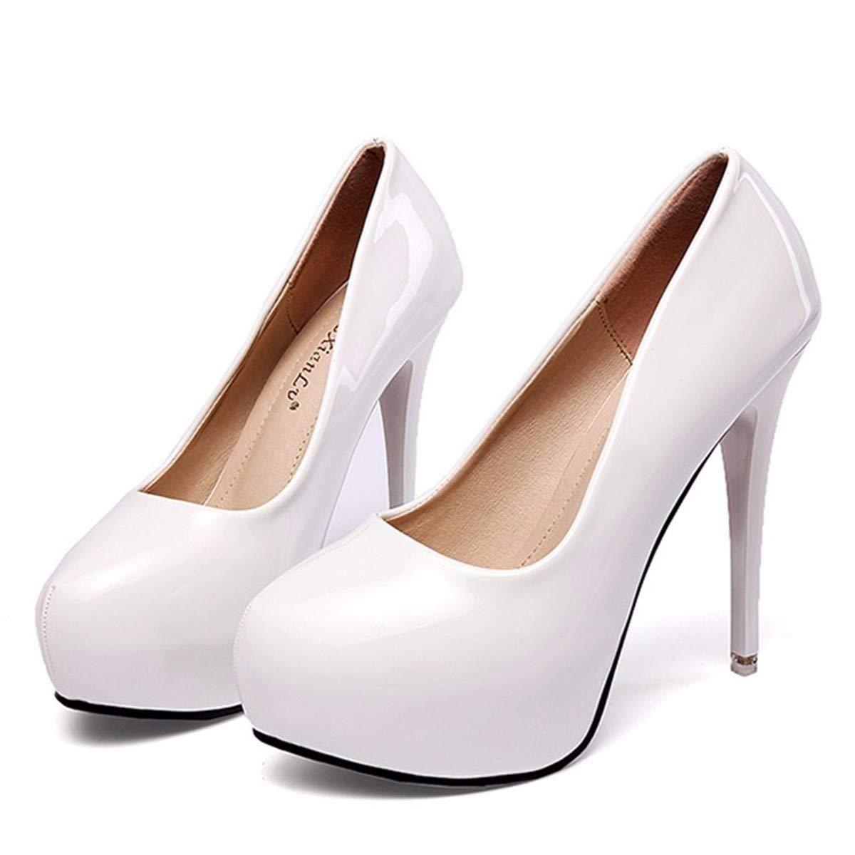 GTVERNH Damenschuhe Mode High - Heel 12Cm Gut mit Lack Haut Flach Herbst Lack Professionelle Runde Schuhe.