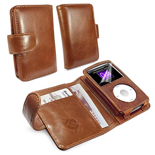 (Tuff-Luv Vintage Genuine Leather Wallet case Cover for iPod Classic - Brown)