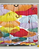 HOPSYOT Shower Curtain Organizer, At Home Shower Curtain, Unisex Colorful Umbrellas Flying Protection Symbol Street Decoration Of Madrid Spain Colorful Shower Curtain