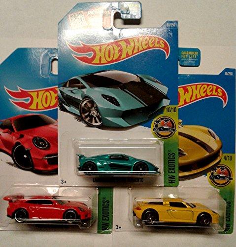 (Hot Wheels 3 Car Exotics Bundle Set LAMBORGHINI SESTO ELEMENTO (teal) 80/250 PORSCHE 911 GT3 RS (red) 78/250 PORSCHE CARRERA GT (yellow) 74/250 all 2016 HW Exotics Models)