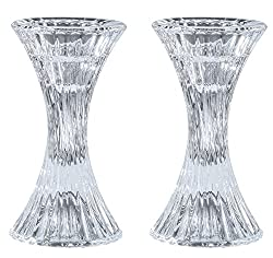 Round Base Crystal Candlesticks - 2 Pack Set - Pair of 5 Inch Pinched Fluted Cylinder Design Candle Holders - by Ner Mitzvah