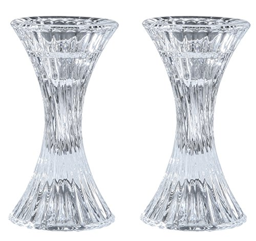 Round Base Crystal Candlesticks - 2 Pack Set - Pair of 5 Inch Pinched Fluted Cylinder Design Candle Holders - by Ner Mitzvah by Ner Mitzvah (Image #1)