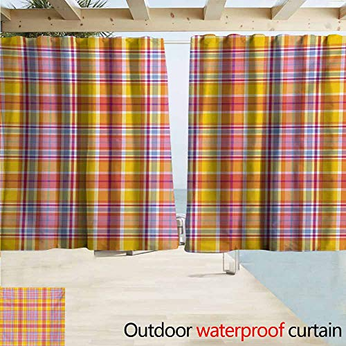Madras Pink Panel - Zmcongz Abstract Home Patio Outdoor Curtain Madras Style Tartan Motif with Vivid Tone Bands Celtic Old Design Insulated with Grommet Curtains for Bedroom W63 xL72 Marigold Pink Earth Yellow