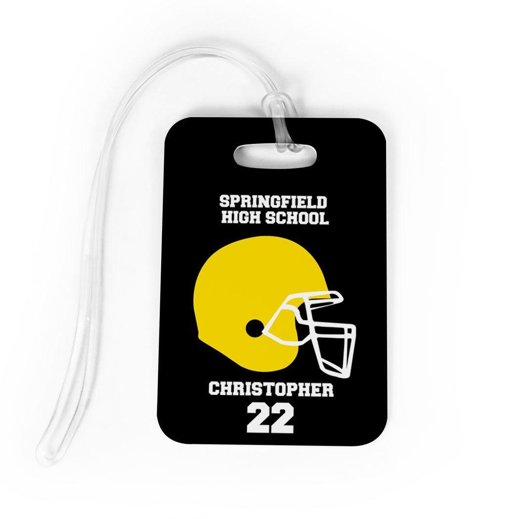 Football Luggage & Bag Tag | Personalized Football Team Helmet | Standard Lines on Back | MEDIUM | BLACK/YELLOW by ChalkTalkSPORTS (Image #1)