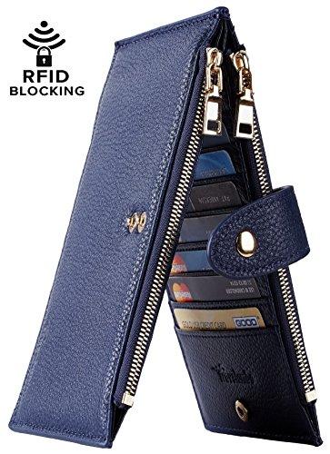 Travelambo Womens Walllet RFID Blocking Bifold Multi Card Case Wallet with Zipper Pocket (Chelsea blue)