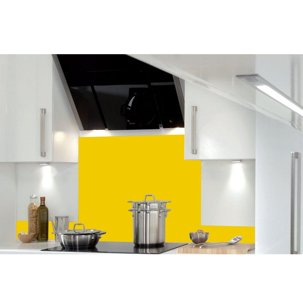 2x Hafele Kitchen Splash Upstand Guard Heat Resistant Toughened Safety Glass Splashback Yellow (99.5cm x 14cm)