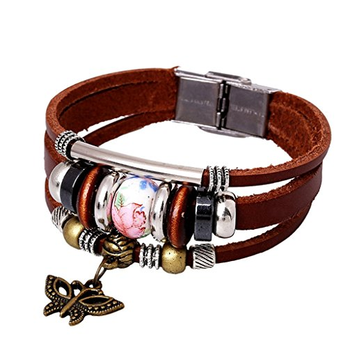 Gnzoe Jewelry, Men/Womens Leather Bracelet Bead Bangle Cuff Butterfly Ceramic Handmade,Light - Exhibitor Sunglasses