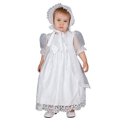Aorme 2 Pieces Baptism Christening Gowns Dresses with Jacket Bonnet Bowknot