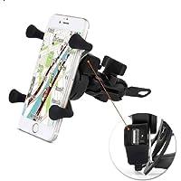 Suporte de Celular com Carregador 2.4a USB Garra para Moto Fixação no Retrovisor ou Parafuso do Guidão