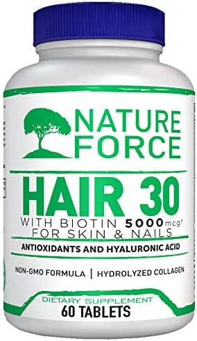Nature Force Hair 30 Days Supply with Biotin 5000 and Collagen for Skin and Nails - All Hair Types - Women and Man